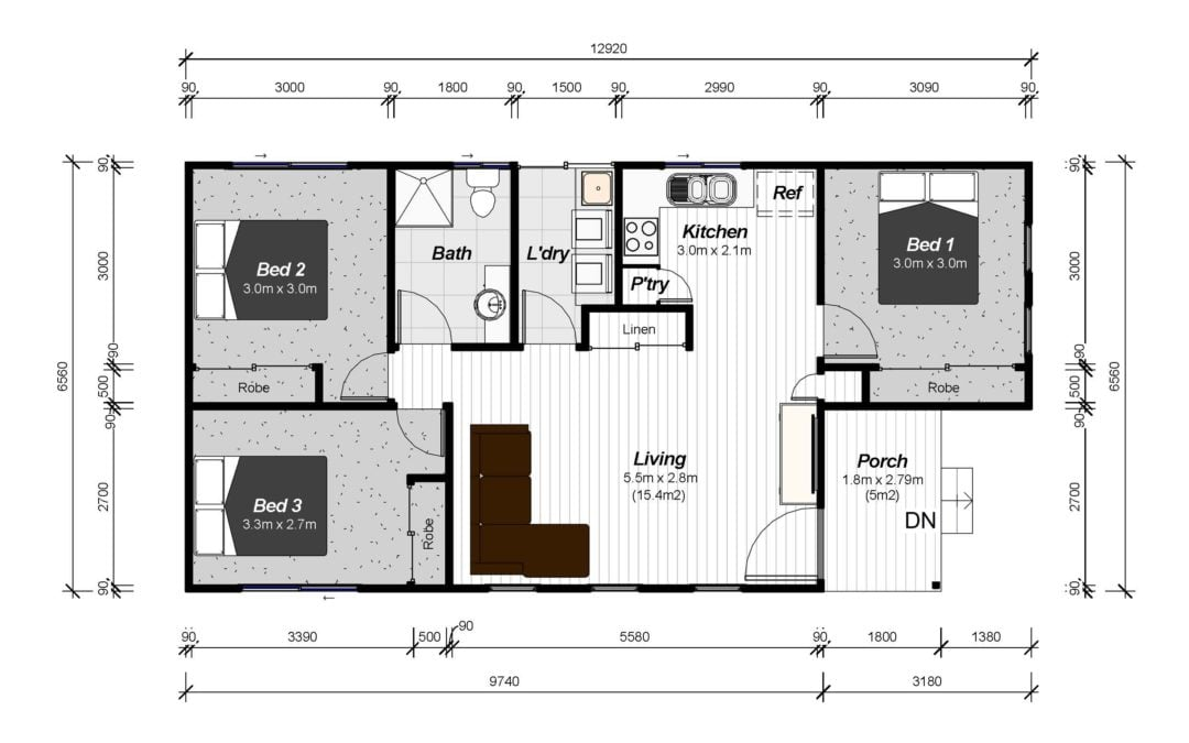 THREE BEDROOM GRANNY FLAT